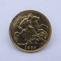 An Edward VII 22 carat gold half sovereign coin, 1908, with B.P. in exergue. Weight 3.9g From a