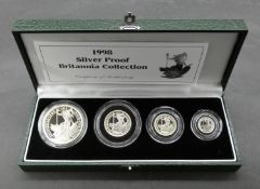 A Royal Mint 1998 silver proof four coin Britannia Collection, in green leather presentation case