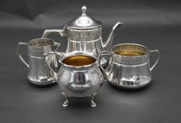 A Continental silver plated Orvit Art Nouveau repousse design three piece coffee set with maker's