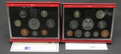 A 1993 Royal Mint deluxe proof set in plastic case in padded red leather wallet along with a 1997