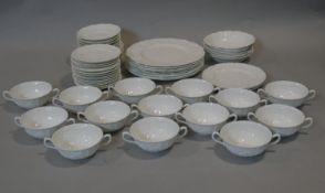 A part dinner service, Coalport Countryware, eight dinner plates, fourteen twin handled soup