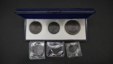 Six antique coins. Including a 1797 Cartwheel Penny showing King George III having long hair