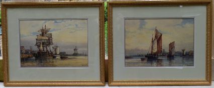 F J Aldridge (1850-1933) a pair of early 20th century gilt framed and glazed watercolours, tall