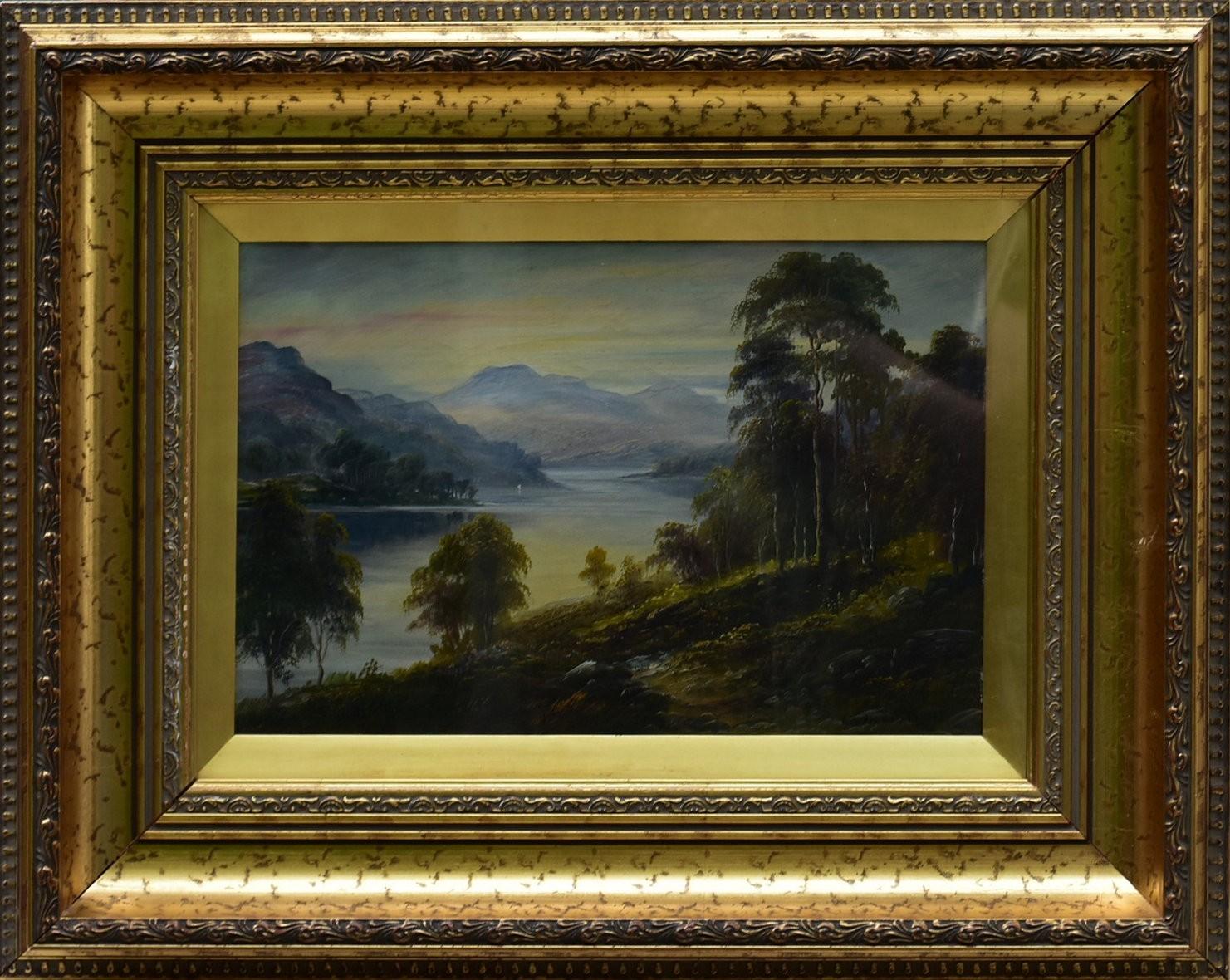 George Willis-Pryce (1866-1949), a gilt framed oil on canvas, Highland landscape, signed. H.40cm W. - Image 2 of 4