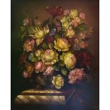 A gilt framed oil on panel, still life flowers on a marble pedestal in the Dutch style, indistinctly