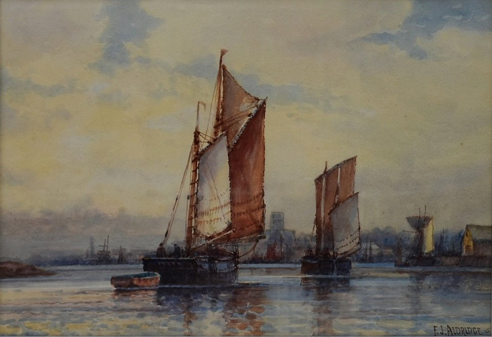 F J Aldridge (1850-1933) a pair of early 20th century gilt framed and glazed watercolours, tall - Image 5 of 7