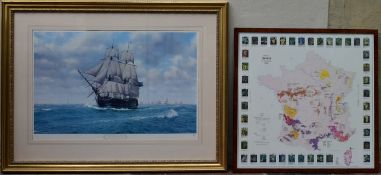 Two framed and glazed prints, Pursuit of Nelson and the Wine Regions of France. H.80 W.103cm / H.