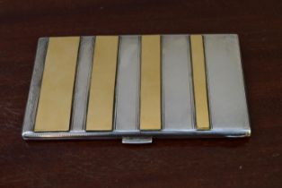 A vintage silver cigarette case, engraved to the inside and marked 925 with makers stamp FS, L.13.