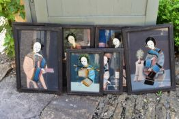 A set of seven Chinese framed paintings on glass. H.56 W.48cm (largest)