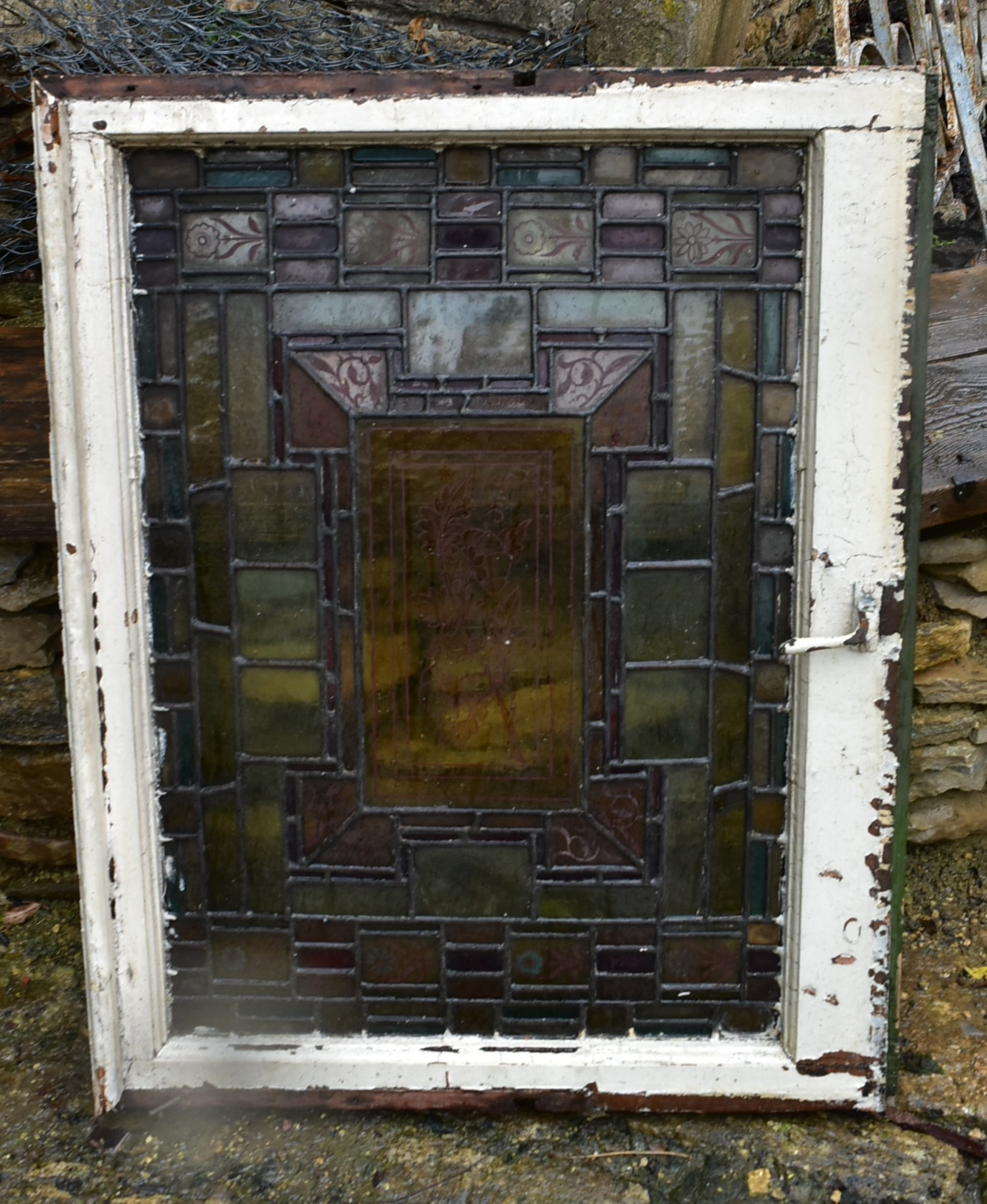 A pair of stain coloured etched and leaded glazed window frames and a similar window in circular - Image 2 of 8
