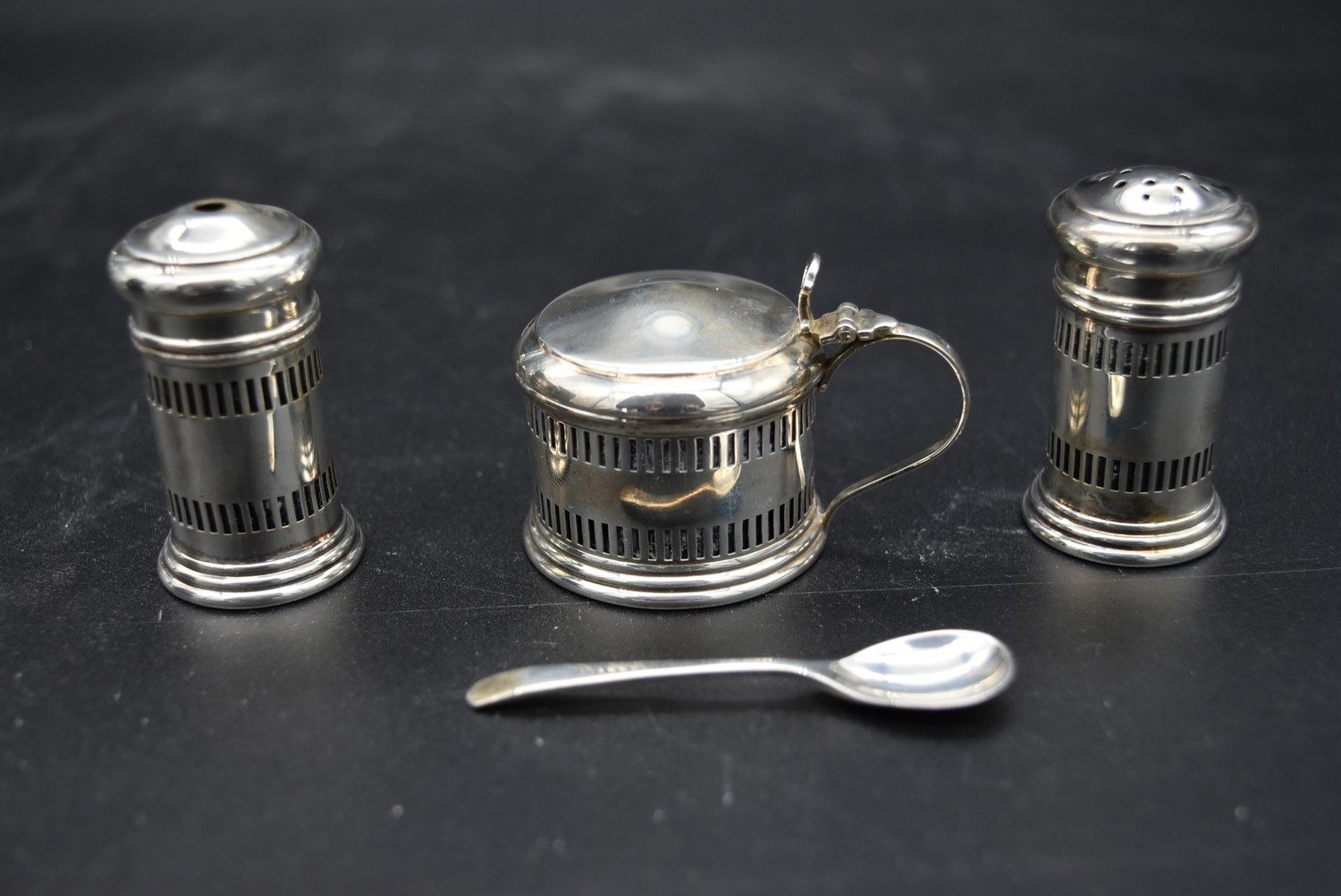 A cased silver cruet, mustard pot and spoon and salt and pepper shakers, CBrs for Clifford Brothers, - Image 2 of 10