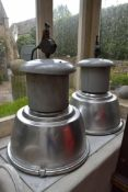 A pair of large industrial aluminium and metal spotlight shades and fittings. H.80cm (2)