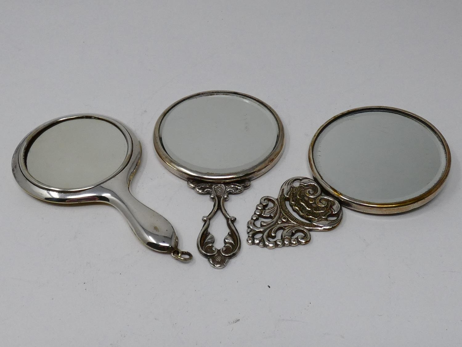 A collection of silver plated items; a hot water jug, trophy cups, card tray and hand mirrors (one - Image 3 of 23