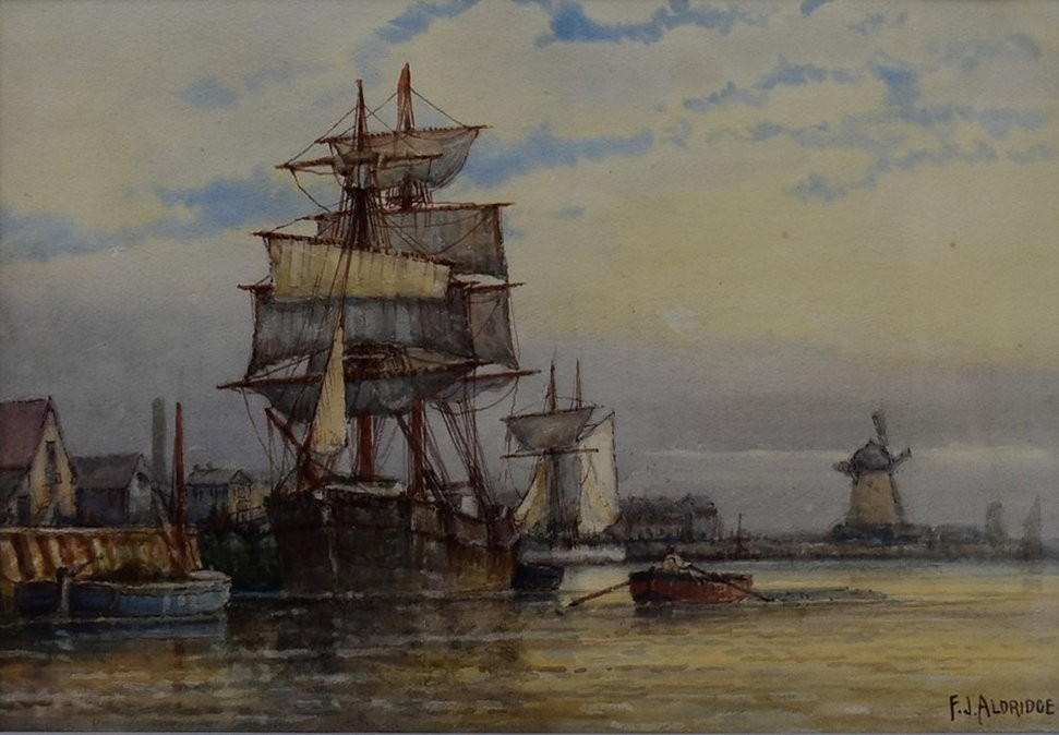 F J Aldridge (1850-1933) a pair of early 20th century gilt framed and glazed watercolours, tall - Image 2 of 7