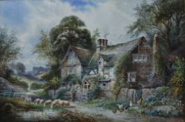 C J Keats, a 19th century framed and glazed watercolour, shepherd by a country cottage, signed. H.