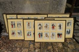 A set of ten glazed prints, various 19th century military officers each with eight sets of figures