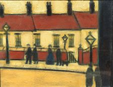 In the manner of Lowry, glazed oil on canvas, figures in an industrial townscape, signed and dated