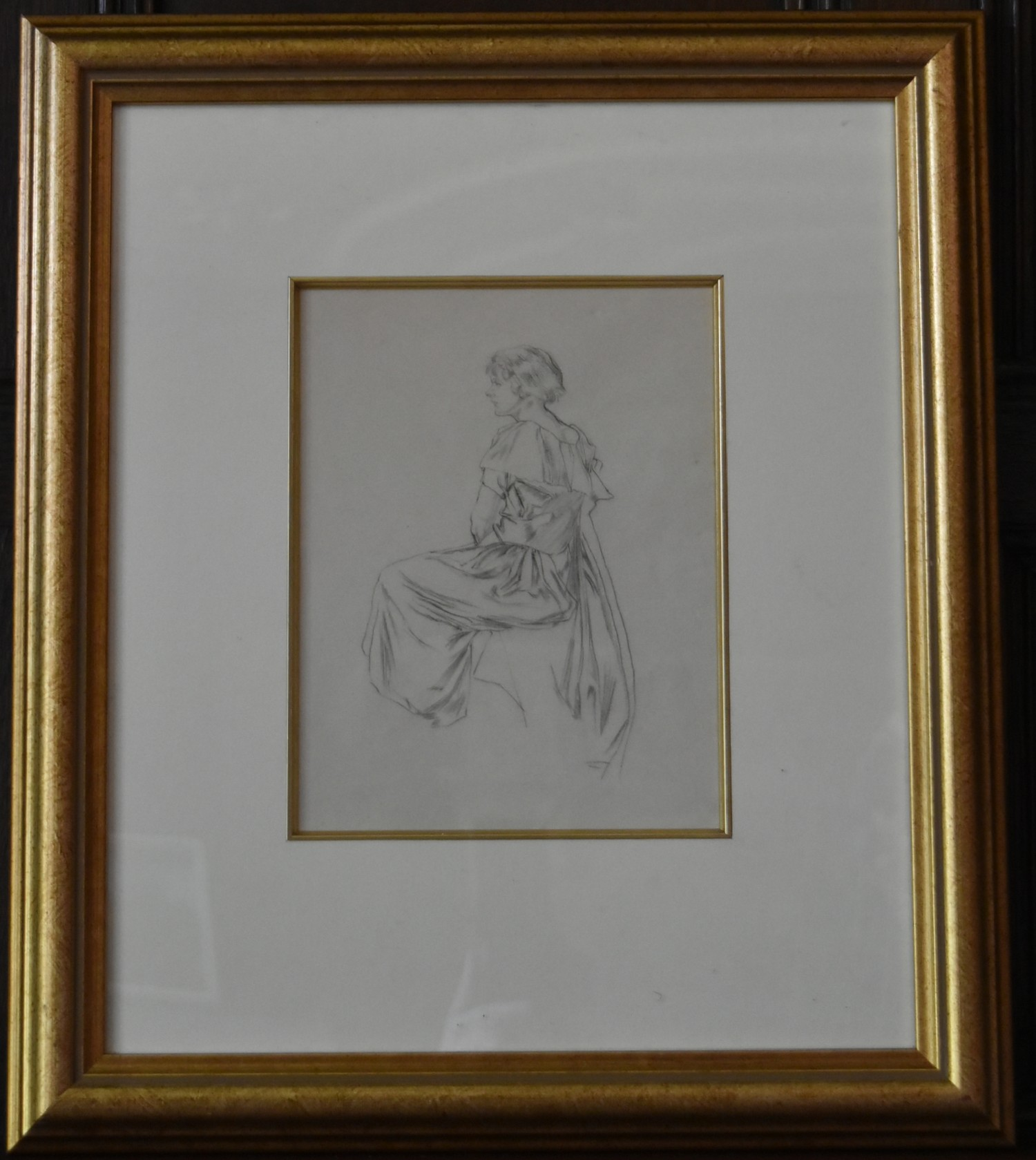 A gilt framed and glazed pencil sketch, seated lady in evening wear, unsigned. H.46 W.40cm - Image 2 of 4