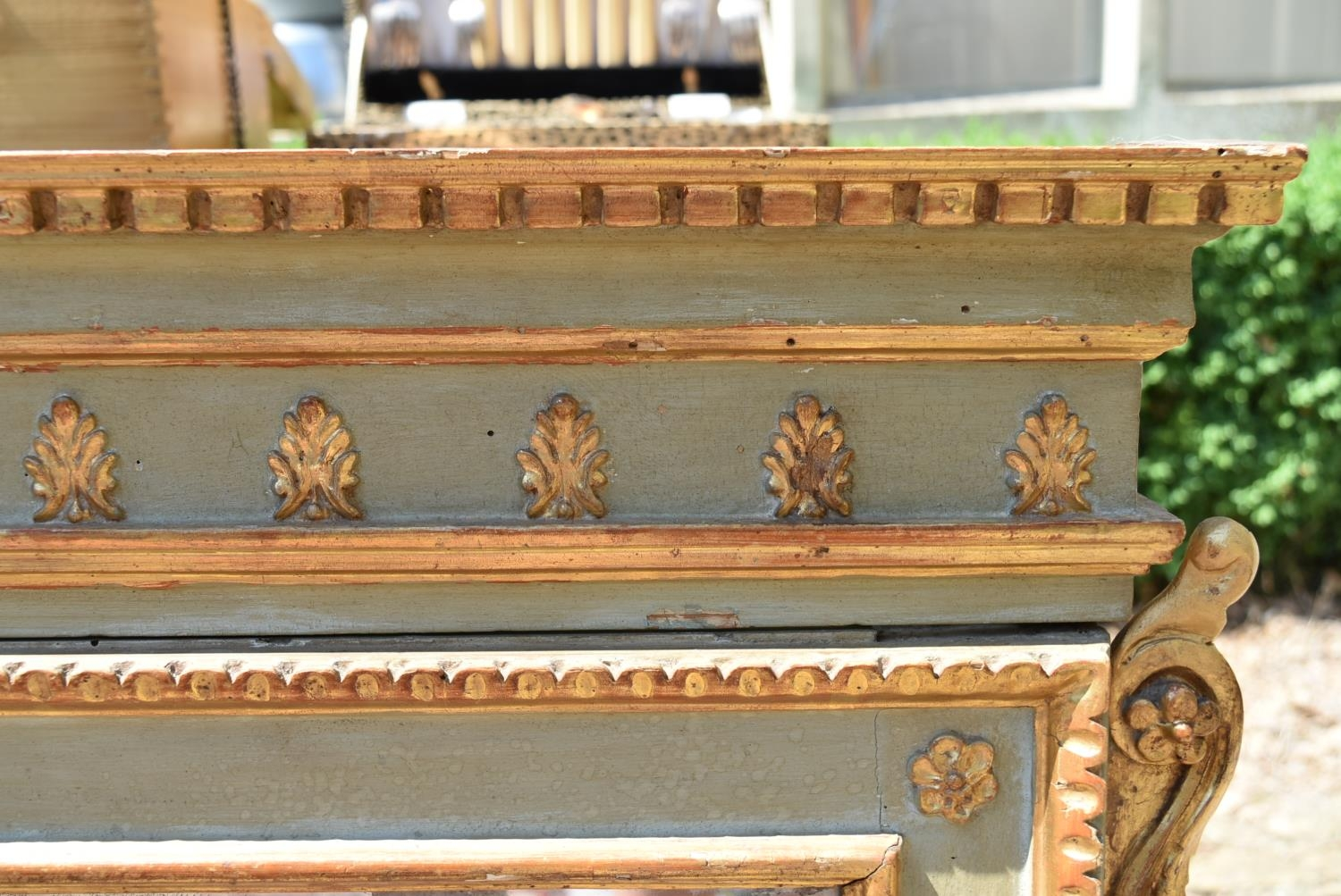 A 19th century French painted overmantel mirror with gilt floral husk and palmette decoration - Image 2 of 4