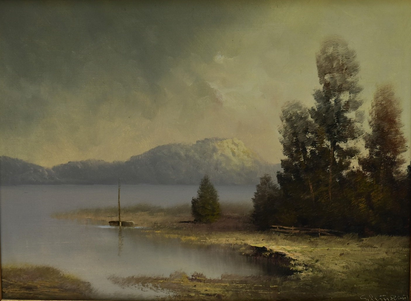 A pair of gilt framed oils on canvas, moonlit lakescapes, indistinctly signed with gallery label for - Image 2 of 7