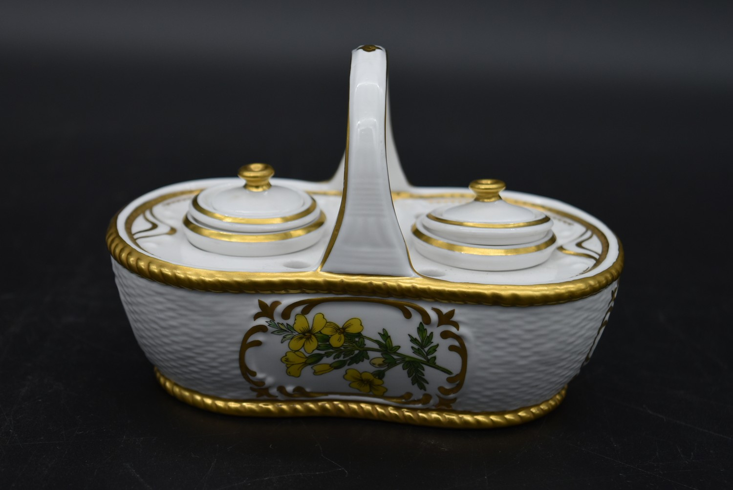 A Continental porcelain hand gilded and decorated lidded caddy, a twin lidded Spode basket and a set - Image 8 of 11