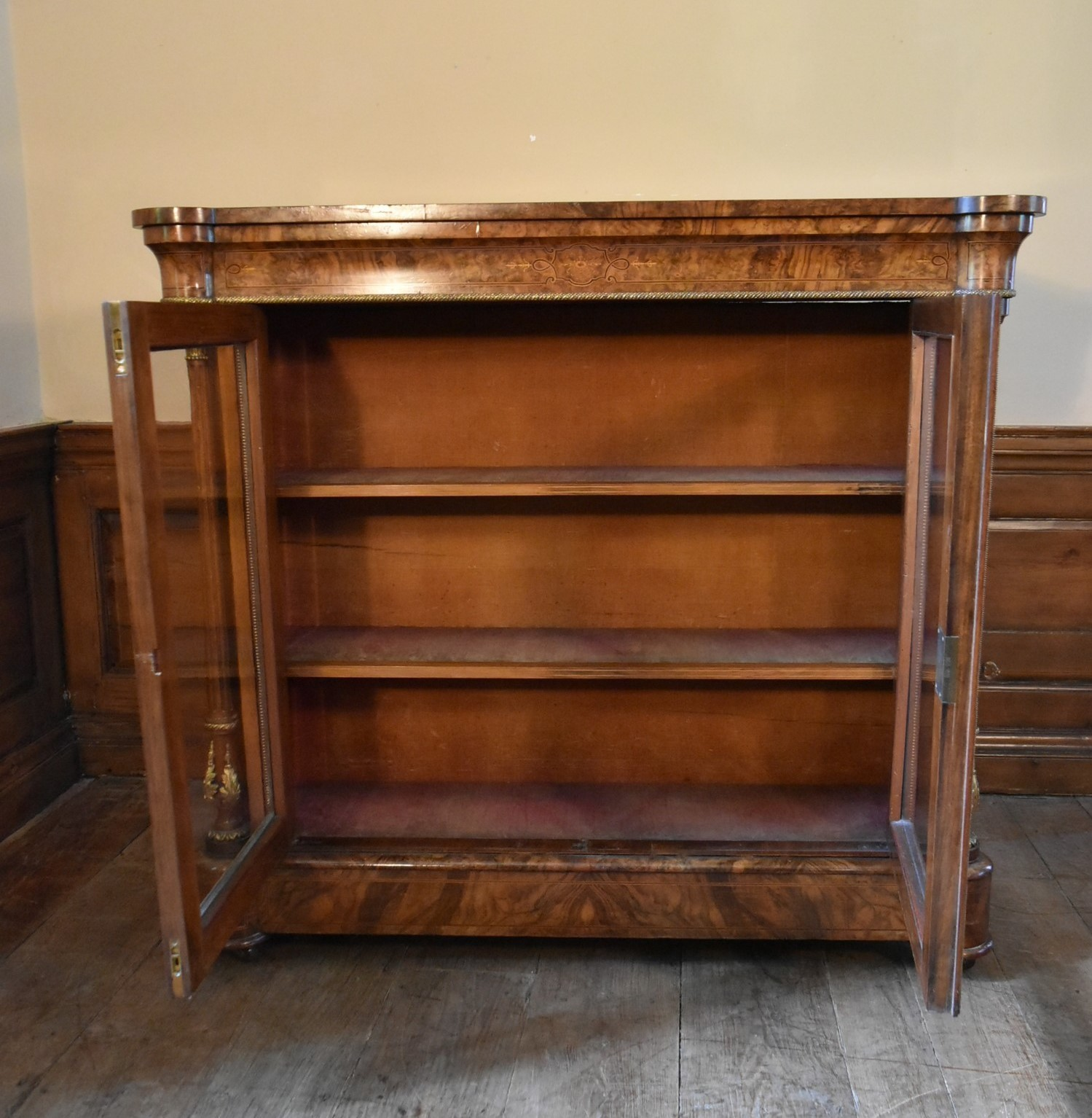 A Victorian burr walnut with satinwood and ebony strung pier cabinet with ormolu mounts and a pair - Image 3 of 6