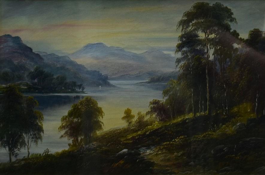 George Willis-Pryce (1866-1949), a gilt framed oil on canvas, Highland landscape, signed. H.40cm W.
