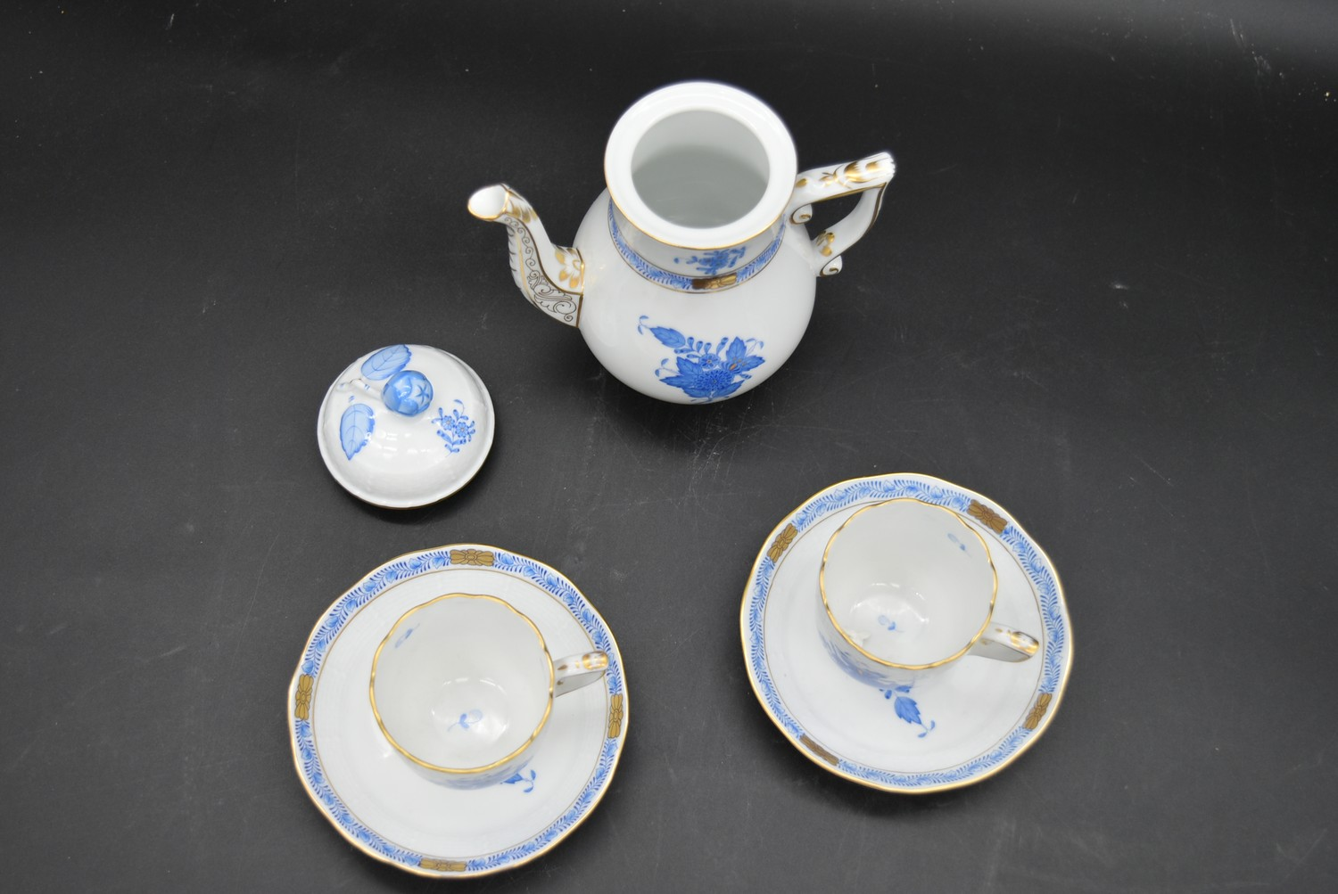 A hand gilded and painted porcelain coffee set by Herend to include coffee pot and a pair of - Image 9 of 14