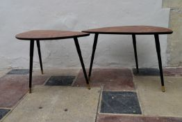 Two vintage style coffee tables with faux rosewood tops on dansette legs. H.55 W.77cm