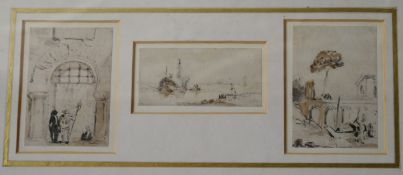 Three 19th century grand tour pencil sketches, framed and glazed. H.26 W.43cm