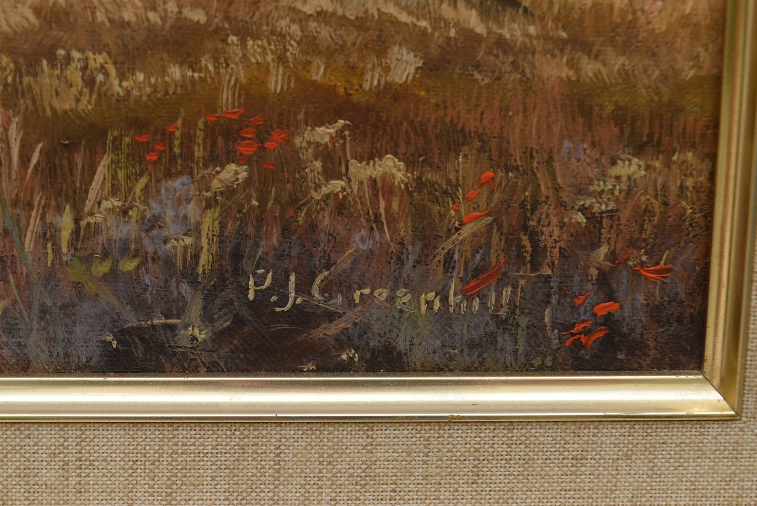 P J Greenhill, a gilt framed oil on canvas, harvest scene, signed with artist's short biography to - Image 3 of 5