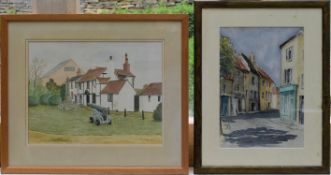 Two framed and glazed watercolours, a Cornish street scene and Canon Cottage, both signed. H.50 W.