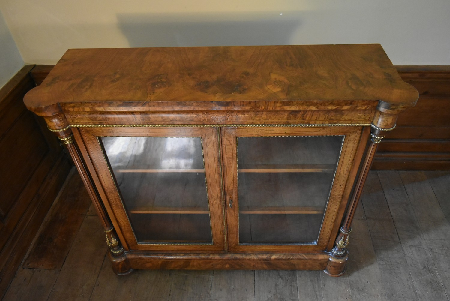 A Victorian burr walnut with satinwood and ebony strung pier cabinet with ormolu mounts and a pair - Image 6 of 6