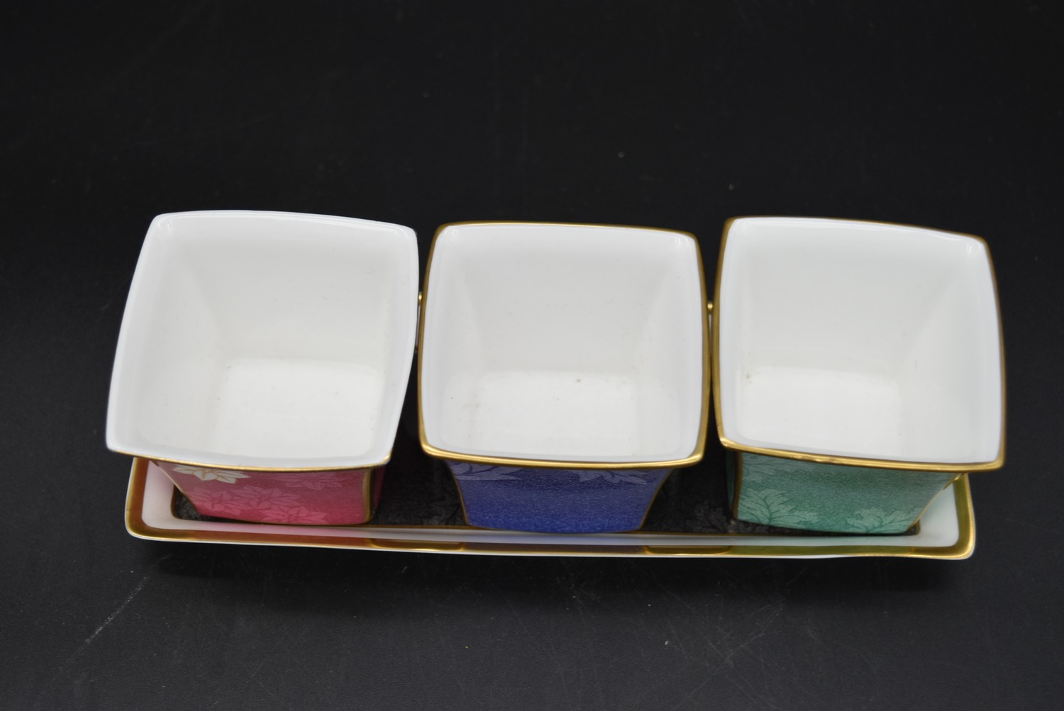 A Continental porcelain hand gilded and decorated lidded caddy, a twin lidded Spode basket and a set - Image 3 of 11