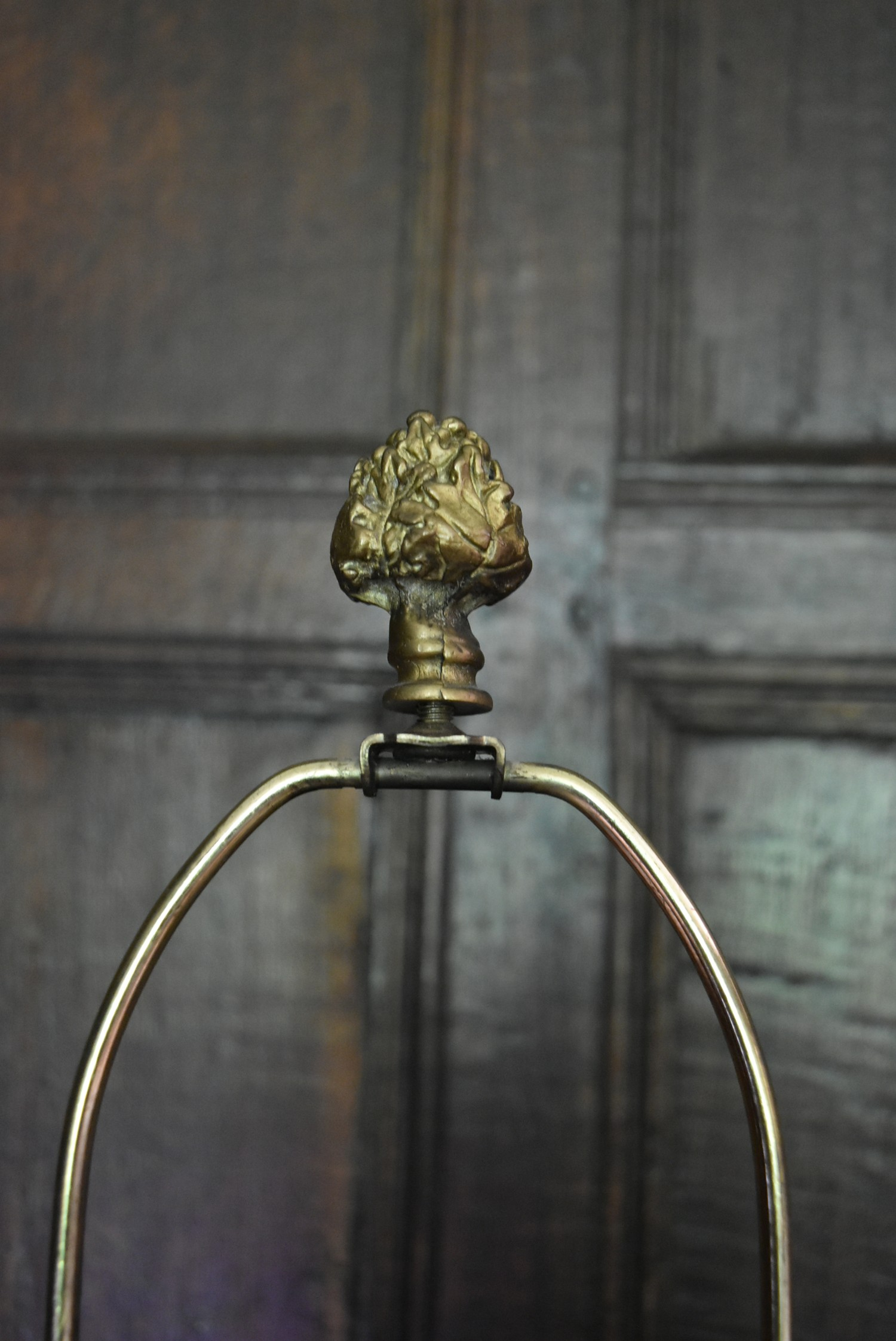 A pair of French Empire style faux marble table lamps with gilt metal ram's head detail. H.77cm W. - Image 3 of 6