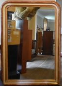 A 19th century gilt and painted frame overmantel mirror with its original plate. H.140 W.110cm