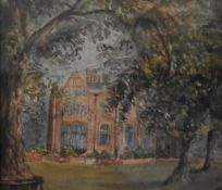 A framed and glazed watercolour, an old manor house through trees, unsigned. H.30 W.34