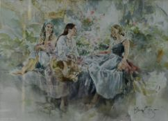 Gordon King (b.1939), a large framed and glazed watercolour, study of three young women laughing and