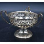 A Victorian silver bob bon dish with triple handles and pierced Greek key fret decoration,