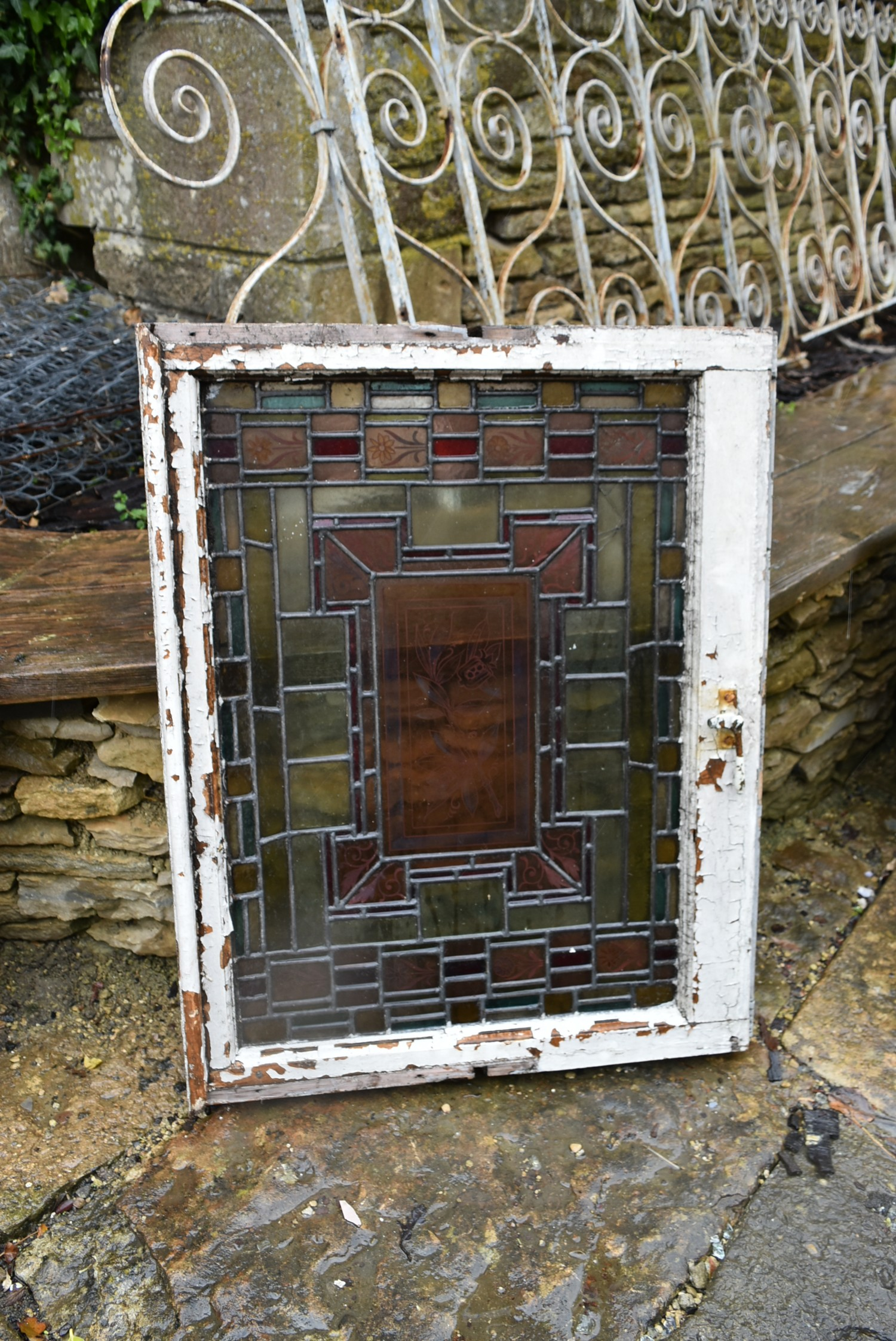 A pair of stain coloured etched and leaded glazed window frames and a similar window in circular - Image 3 of 8