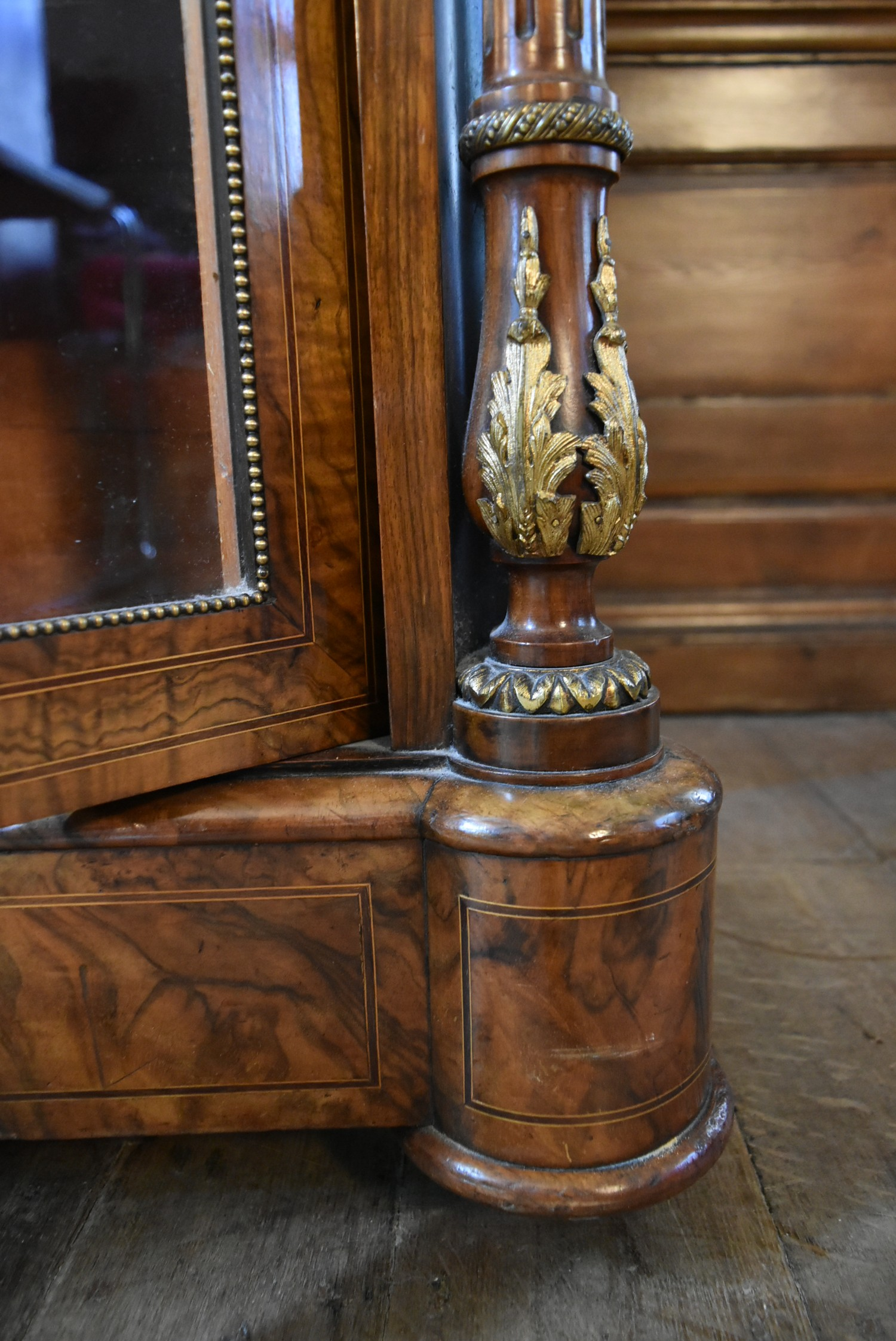 A Victorian burr walnut with satinwood and ebony strung pier cabinet with ormolu mounts and a pair - Image 4 of 6