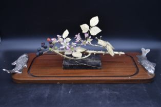 A gilt bronze and bone china sculpture by Ronald Van Ruyckevelt, blackberry branch with thorns and