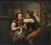 A 19th century on board in ornate gilt frame, a young couple seated together, unsigned. H.34 W.37cm