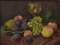 A 19th century gilt framed oil on panel, Continental style still life, indistinctly signed. H.46 W.