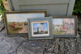 A framed oil on canvas, hunting scene, a smaller similar and an oil on canvas of sailing ships at