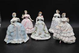 A collection of five limited edition Royal Worcester figures, Victorian style ladies in ball