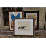 A still life etching, indistinctly signed and two still life watercolours of flowers, signed. H.50