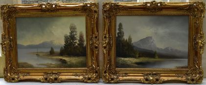 A pair of gilt framed oils on canvas, moonlit lakescapes, indistinctly signed with gallery label for