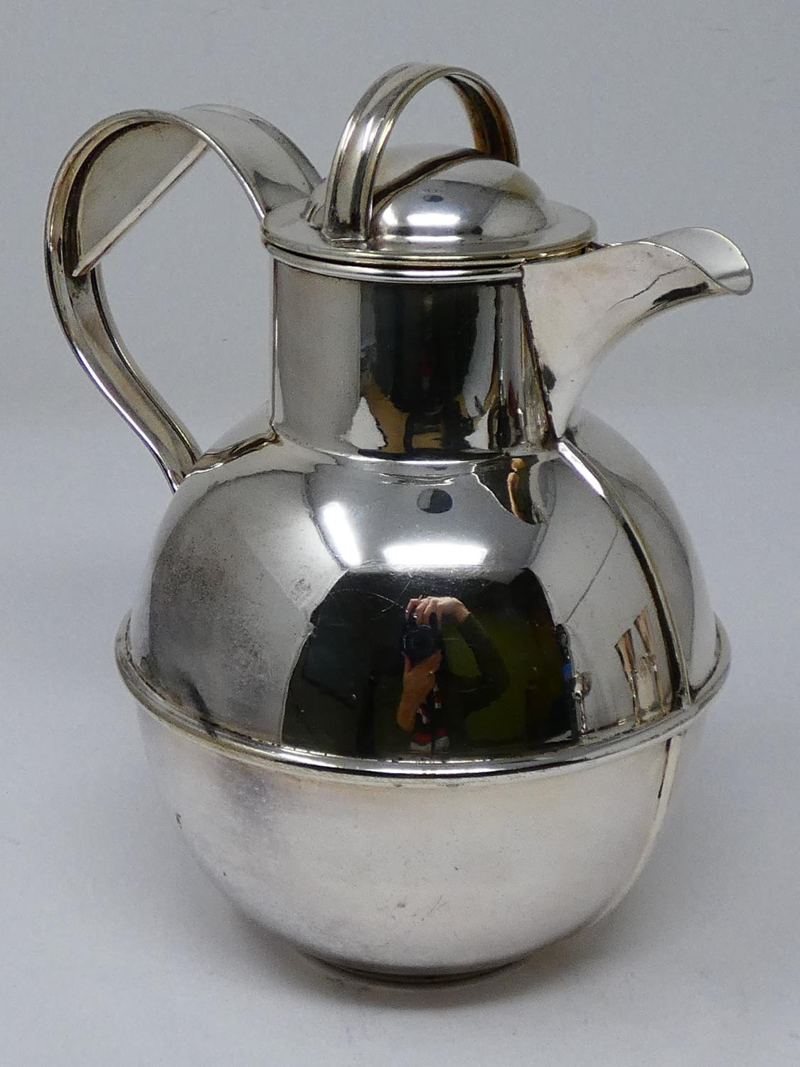 A collection of silver plated items; a hot water jug, trophy cups, card tray and hand mirrors (one - Image 11 of 23