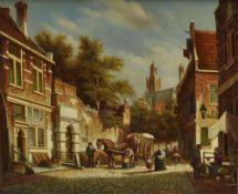 Pieter Cornelius Steenhouwer (1896-1972) a gilt framed oil on panel, Flemish street scene with